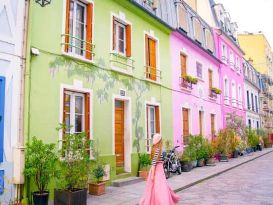 this street full of colorful houses is one of the hidden gems in paris