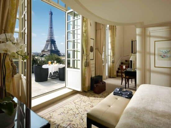Shangri-La Hotel Paris with a view of the Eiffel Tower from the balcony