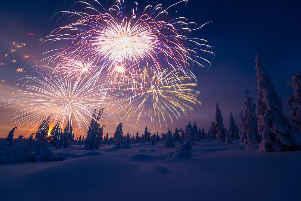 fireworks for New Years Eve in Iceland in December