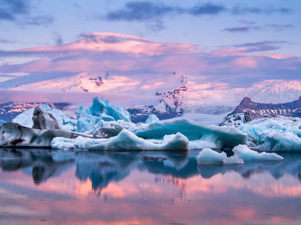 Jökulsárlón Glacier Lagoon in Iceland in December