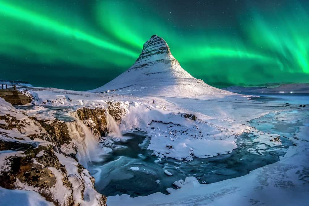 Northern Lights over Kirkjufell in Iceland in December
