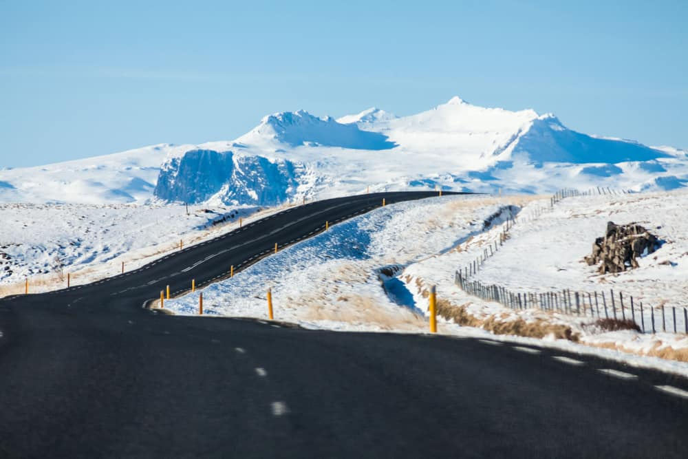 road with snow in Iceland in December