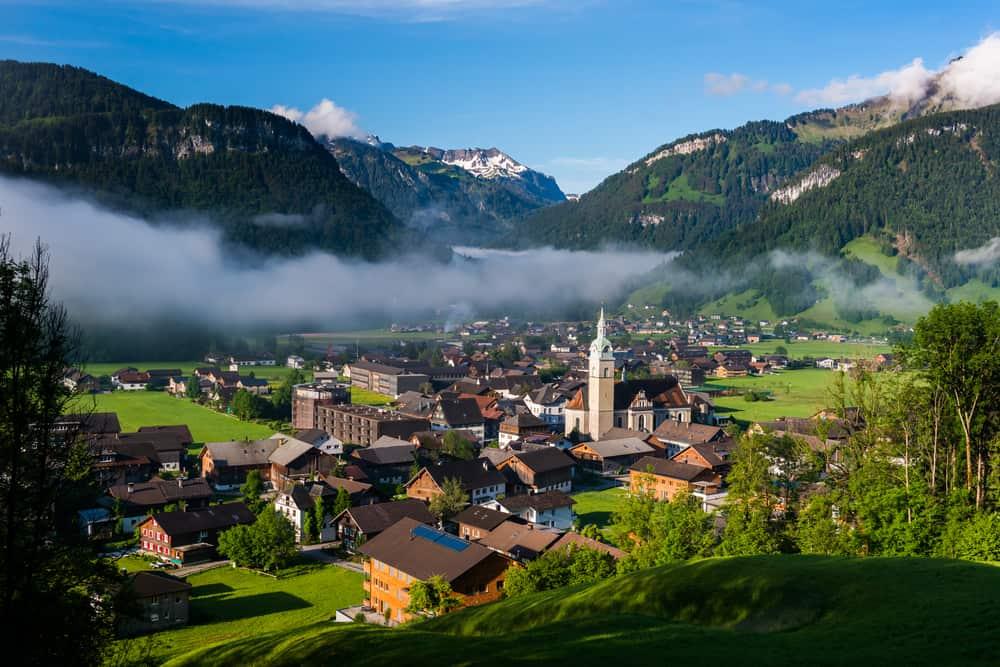 landscape view bezau austria