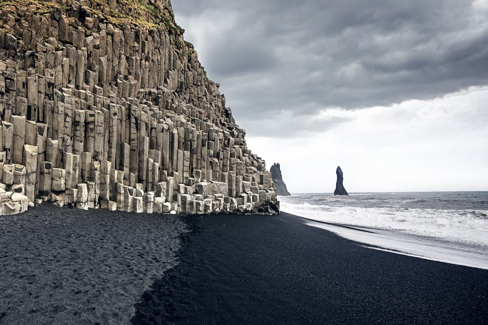basalt columns at Reynisfjara Black Sand Beach in South Iceland