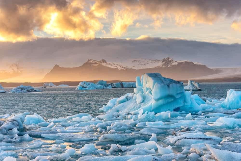 floating icebergs at Jokulsarlon Glacier Lagoon in South Iceland