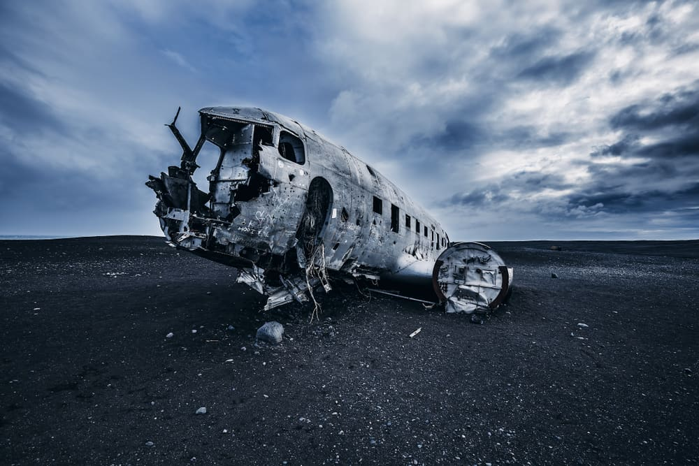 Solheimasandur plane crash on black sand beach in South Iceland