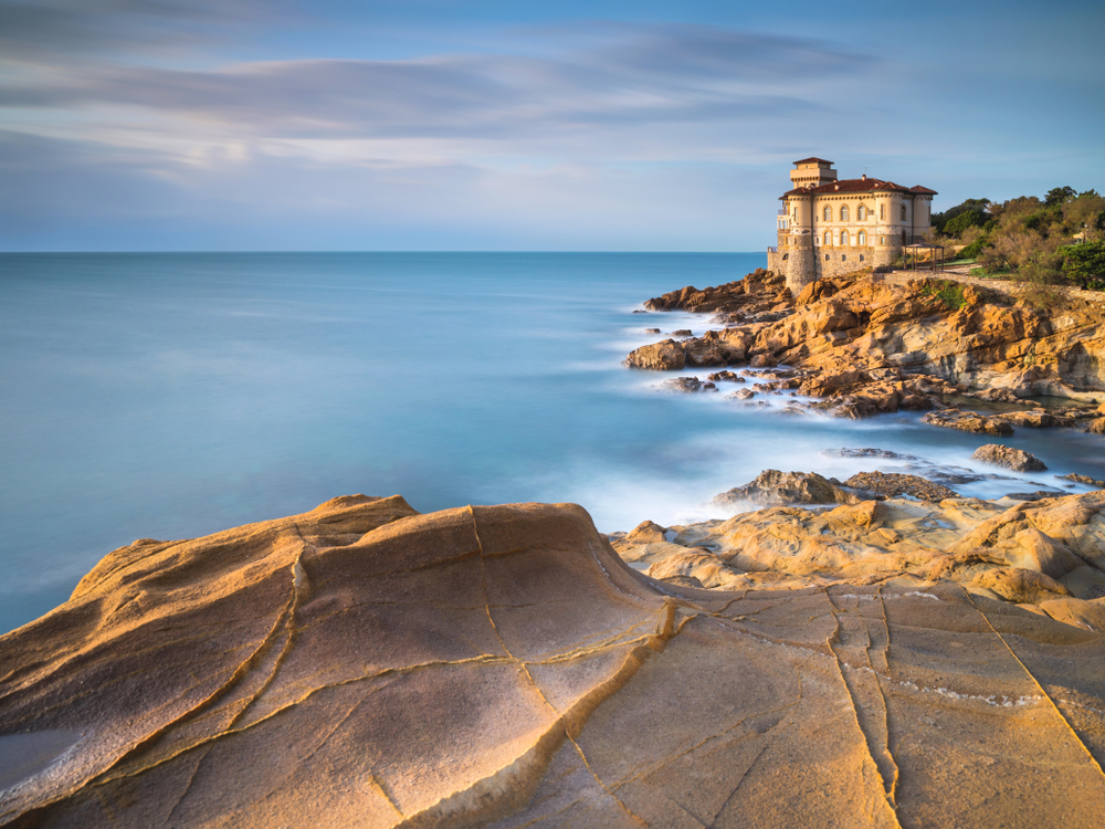 Castle in Livorno Italy during sunset