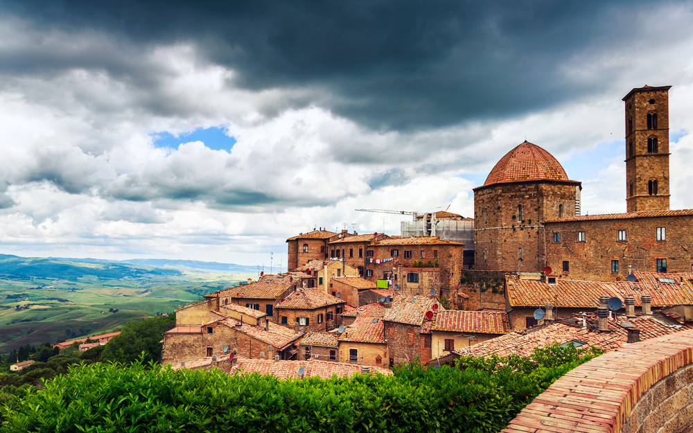 stormy skies in Volterra one of the best Tuscany road trip stops