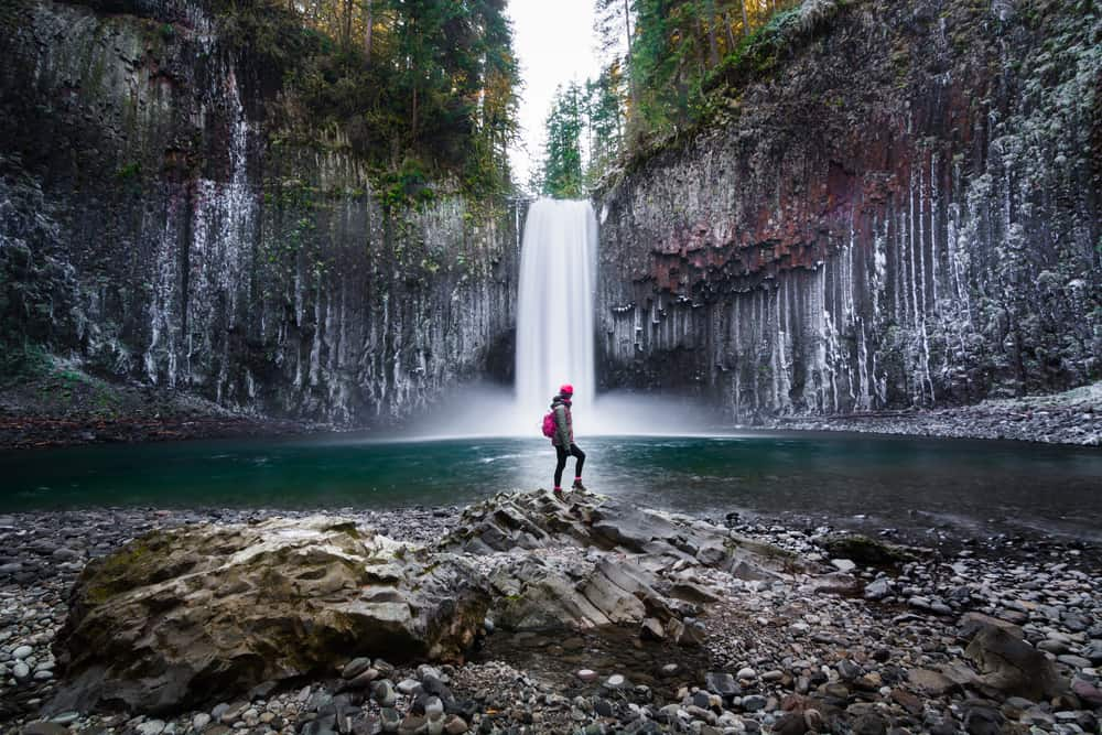 one of the more hidden waterfalls in Oregon Abiqua Falls affords more privacy