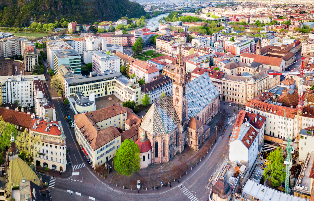downtown Bolzano where you will stay during 10 days in Italy