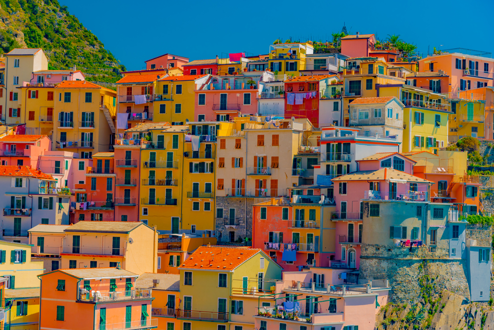 close up of Cinque terre homes