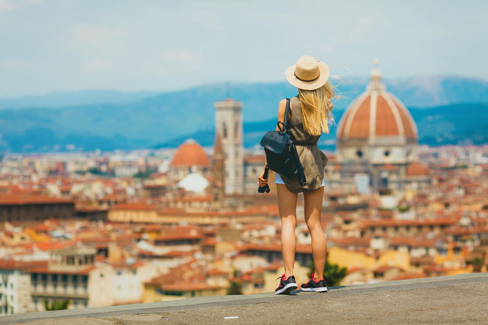 woman standing and overlooking Florence in Italy