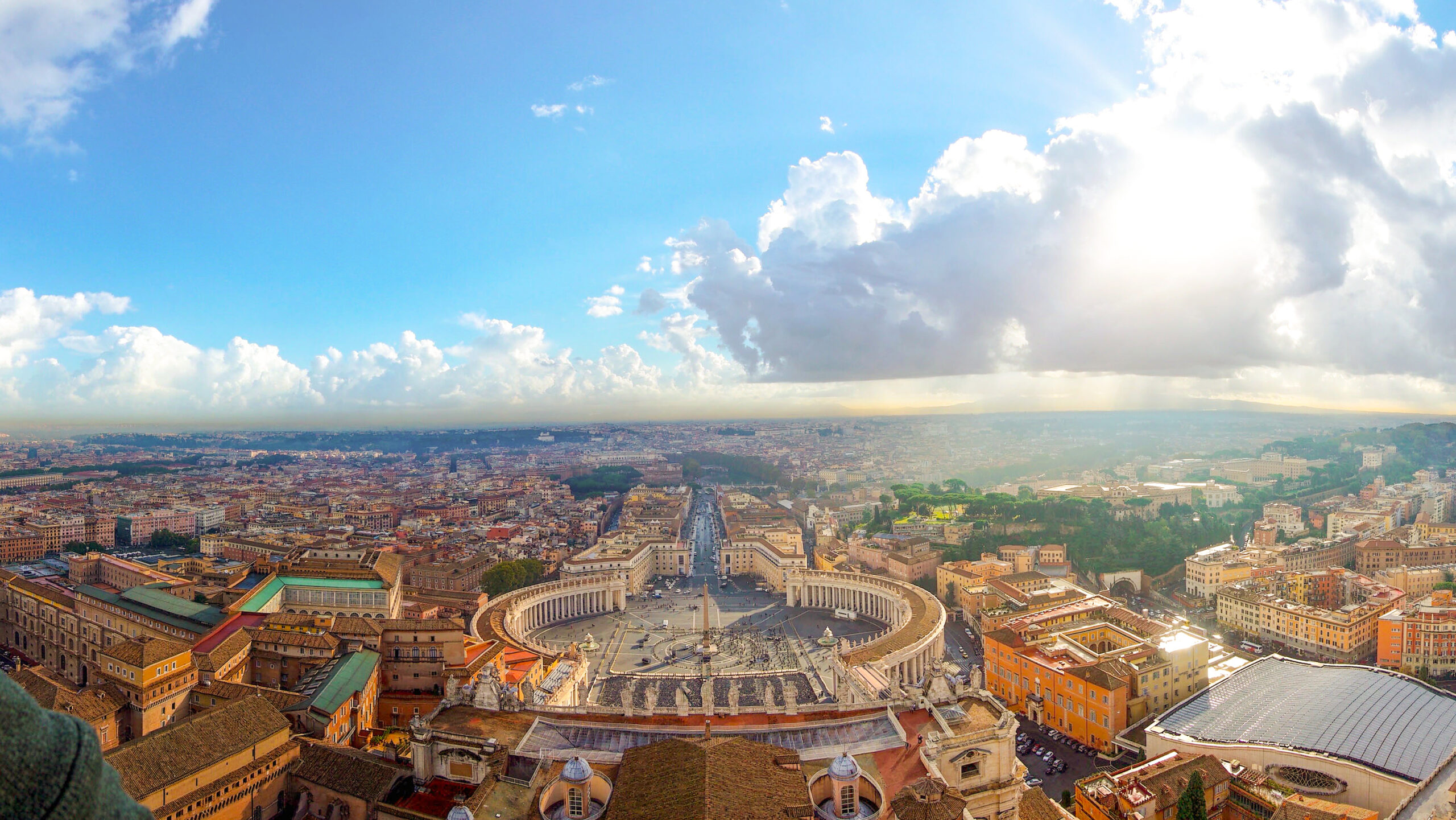 The Vatican from above during sunset