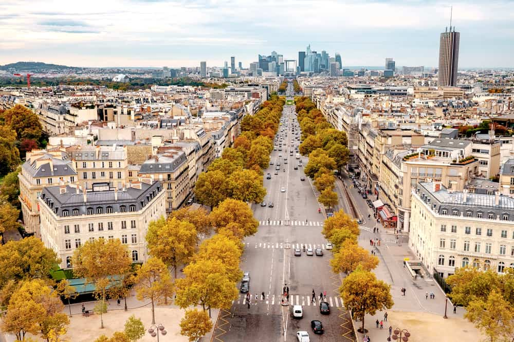 The Champs Élysées from a semi-aerial view with fall foliage, Paris in a Day