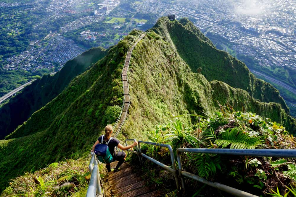 Adding waterproof shoes to your Hawaii packing list will help protect your feet during steep hikes like this one!