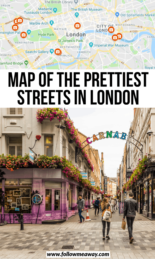 map of the prettiest streets in london