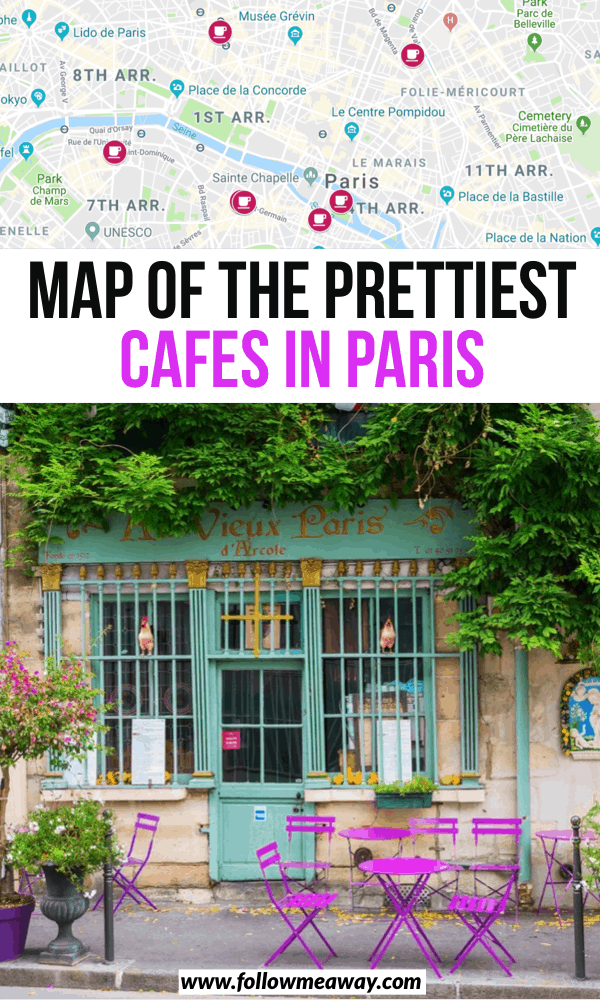 map of the prettiest cafes in paris