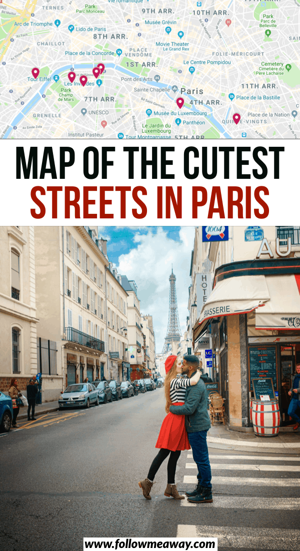 Map of the cutest streets in paris