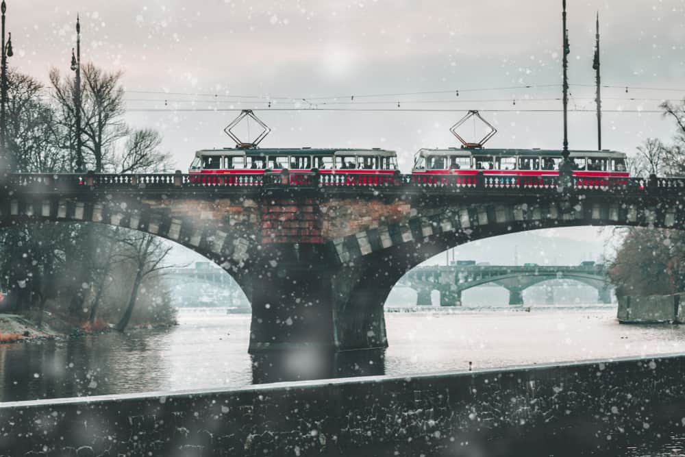 Taking the tram is a cheap and efficient way to travel around Prague in winter