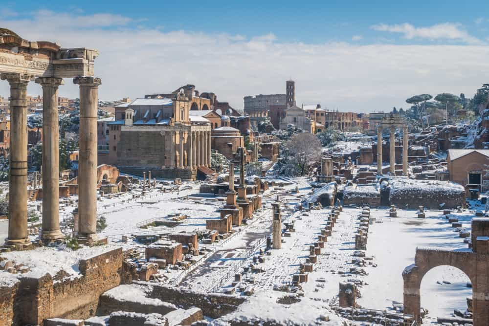 Snow sometimes falls on the Roman Forum during winter in Rome