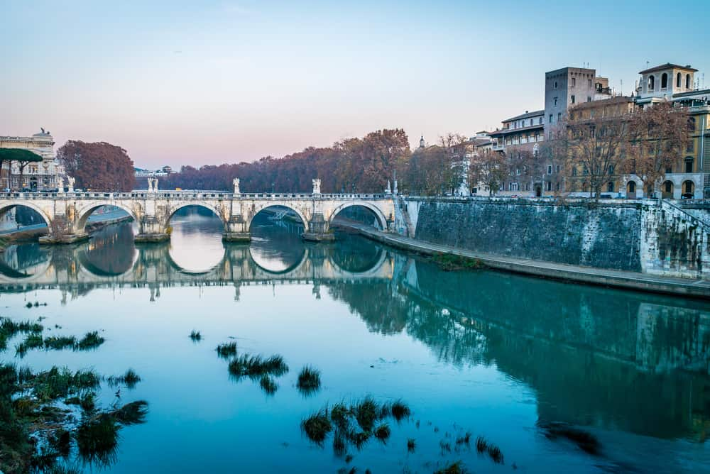 The Tiber River can be quiet peaceful without all of the tourists that are normally there