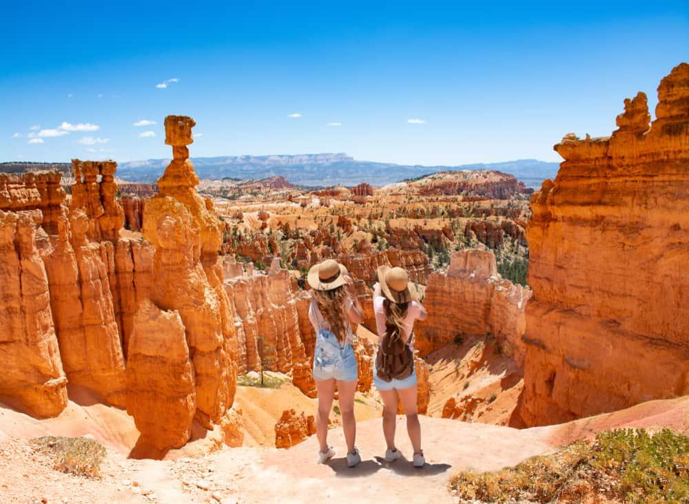 girls hiking at bryce canyon on their Utah road trip