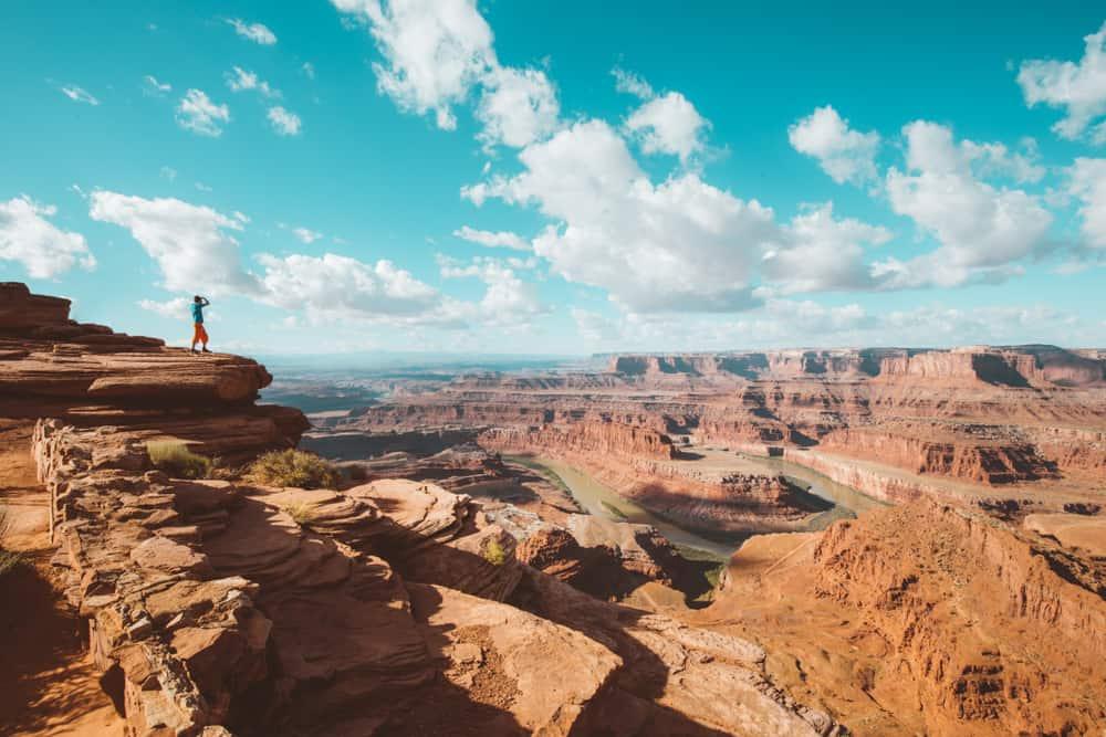 hiker at canyonlands during his Utah road trip