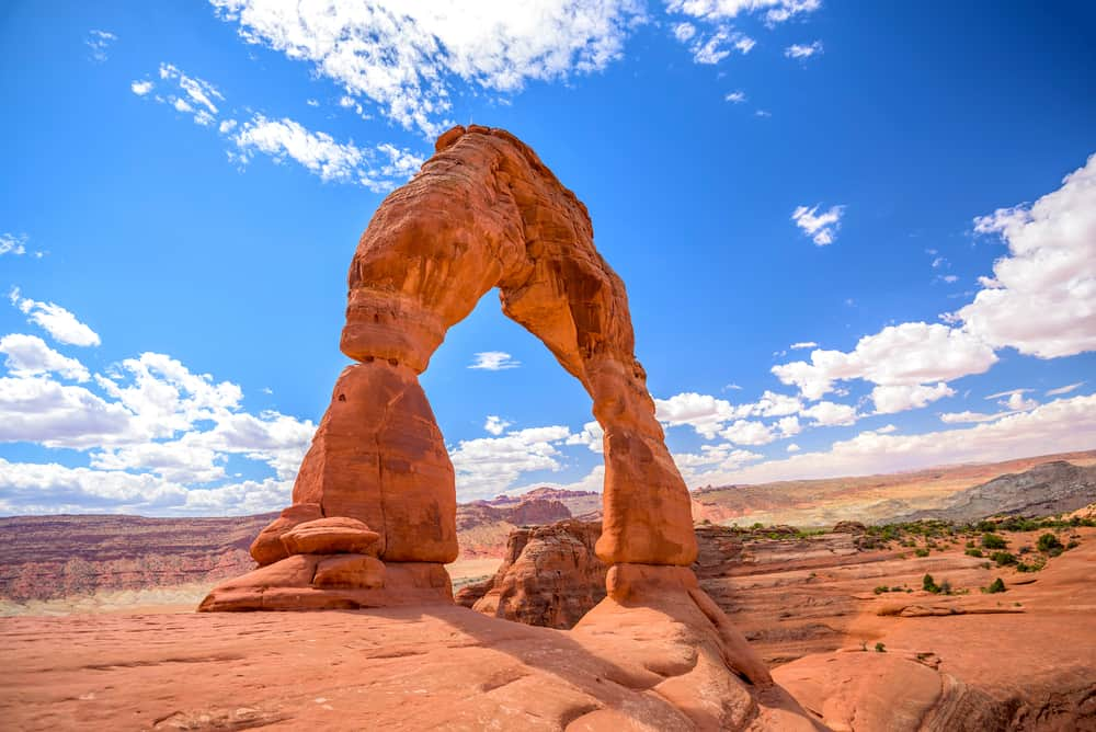 delicate arch with a blue sky