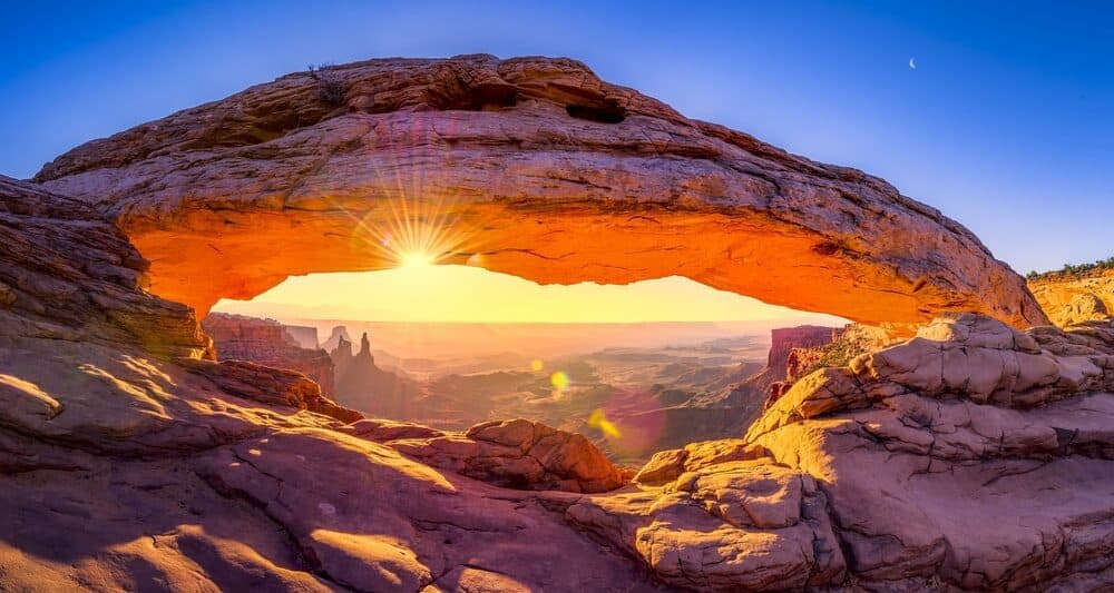 Mesa arch at sunrise in one of the Utah national parks