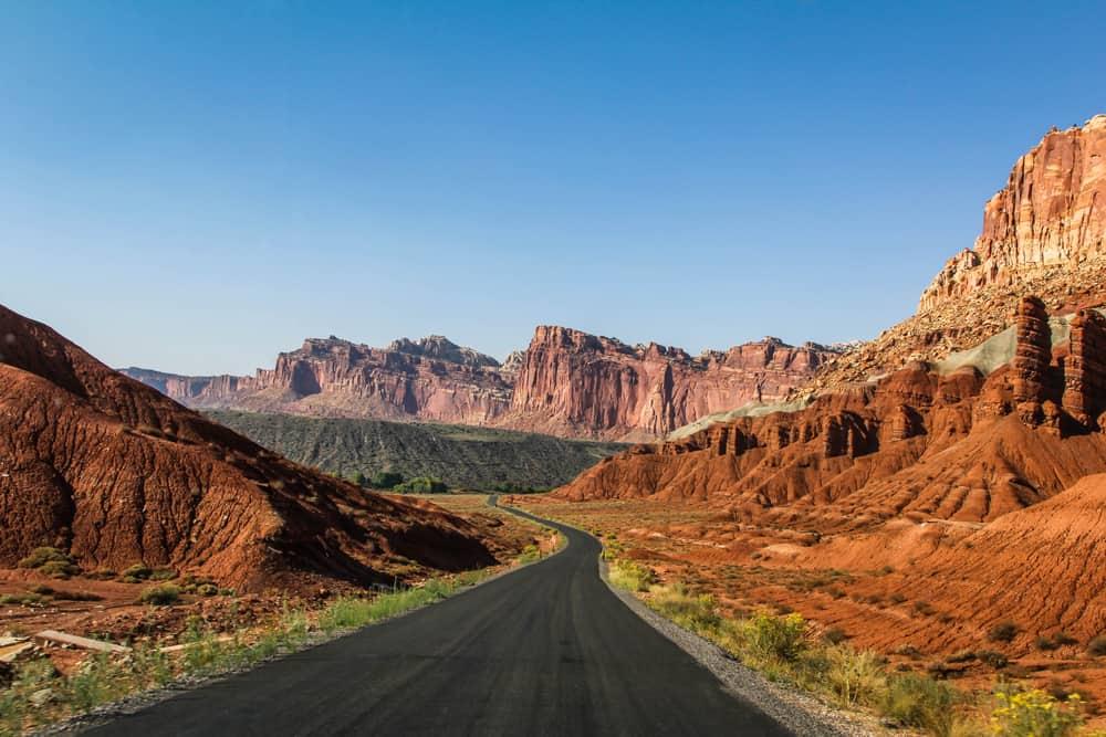 Utah road trip road in capitol reef national park