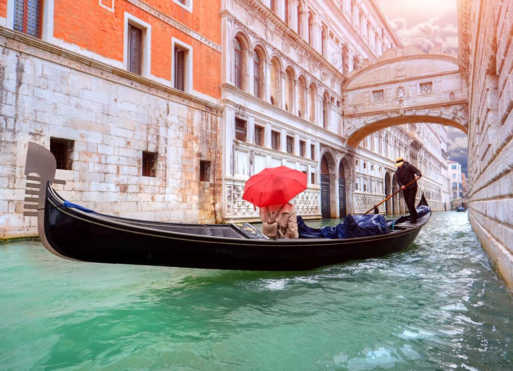 The unique Bridge of Sighs viewed from a Gondola in Venice in winter