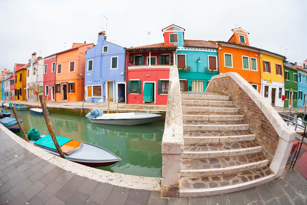 The colorful homes of Burano Island in Venice in Winter