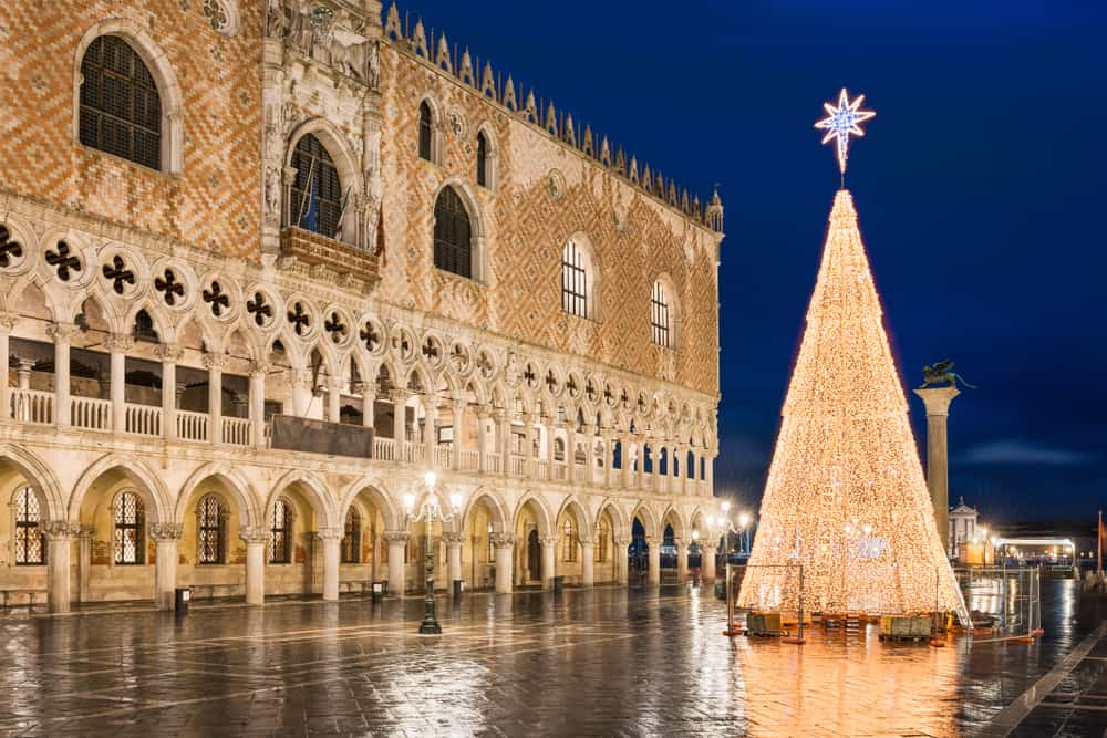 Enjoy the city lite up at night in Venice in Winter especially during Christmas time