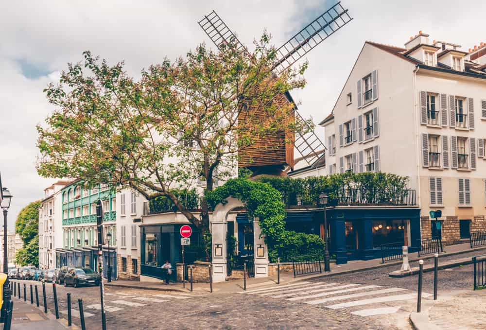 windmill above cafe in Paris