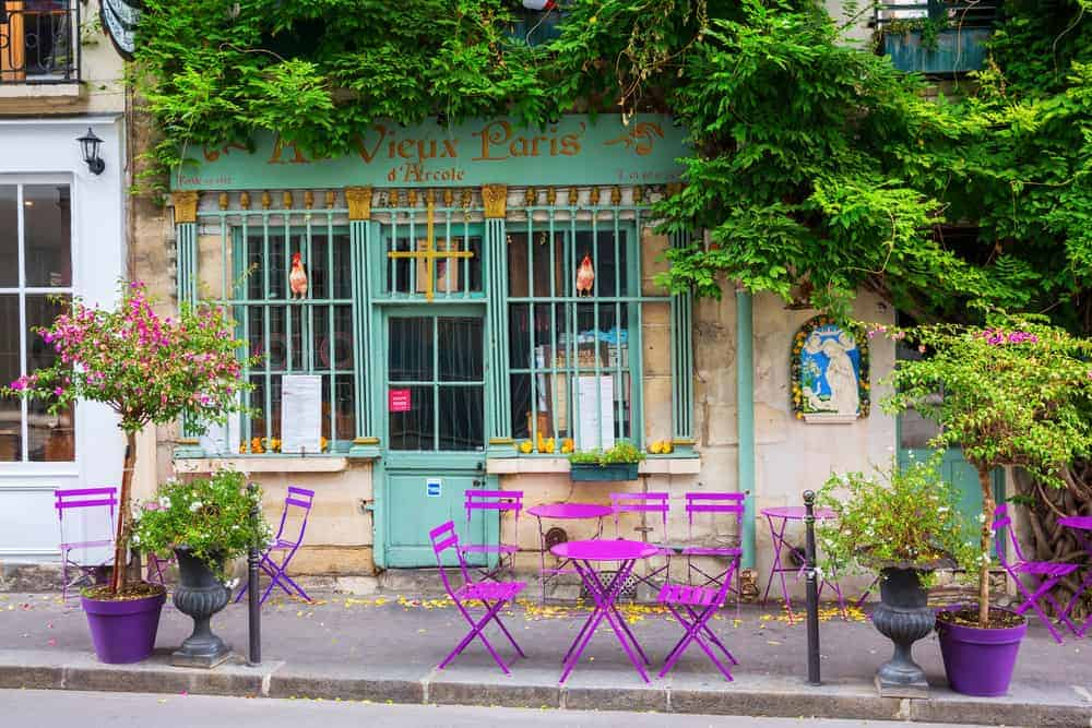 chairs in front of traditional Paris cafe