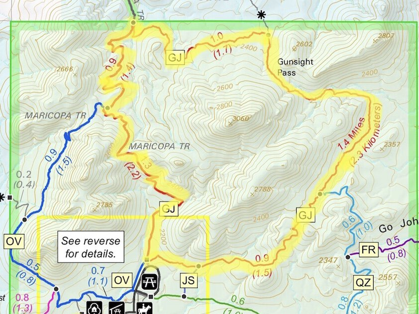 Go John trail map for one of the best hikes in Phoenix
