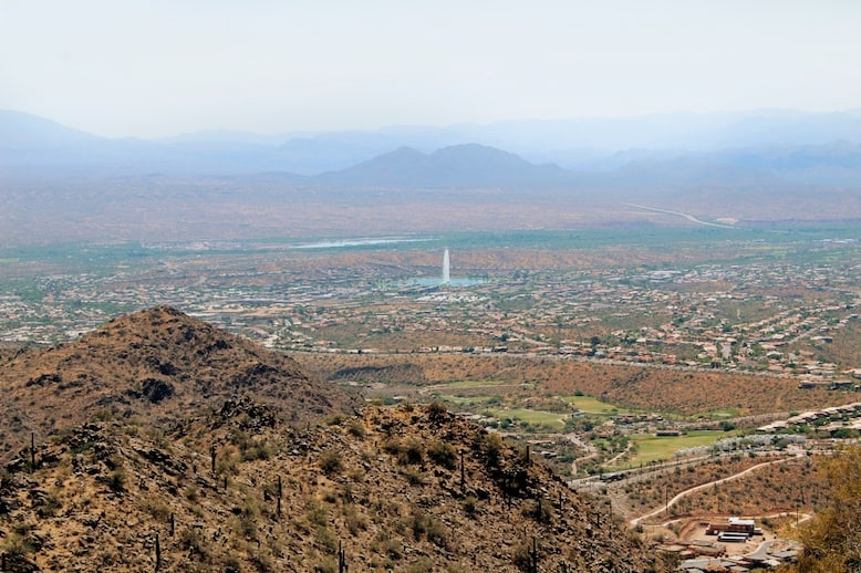 Sunrise Trail Peak view of Fountain Hills on one of the best hikes in Phoenix