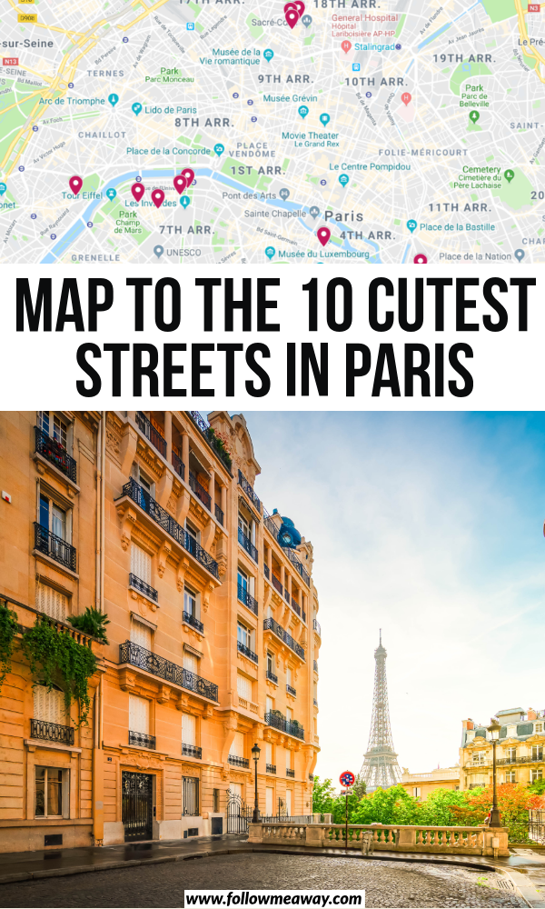 map of the 10 cutest streets in paris