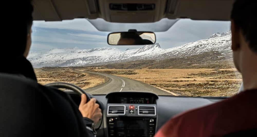 driving manual in an iceland car rental on the ring road