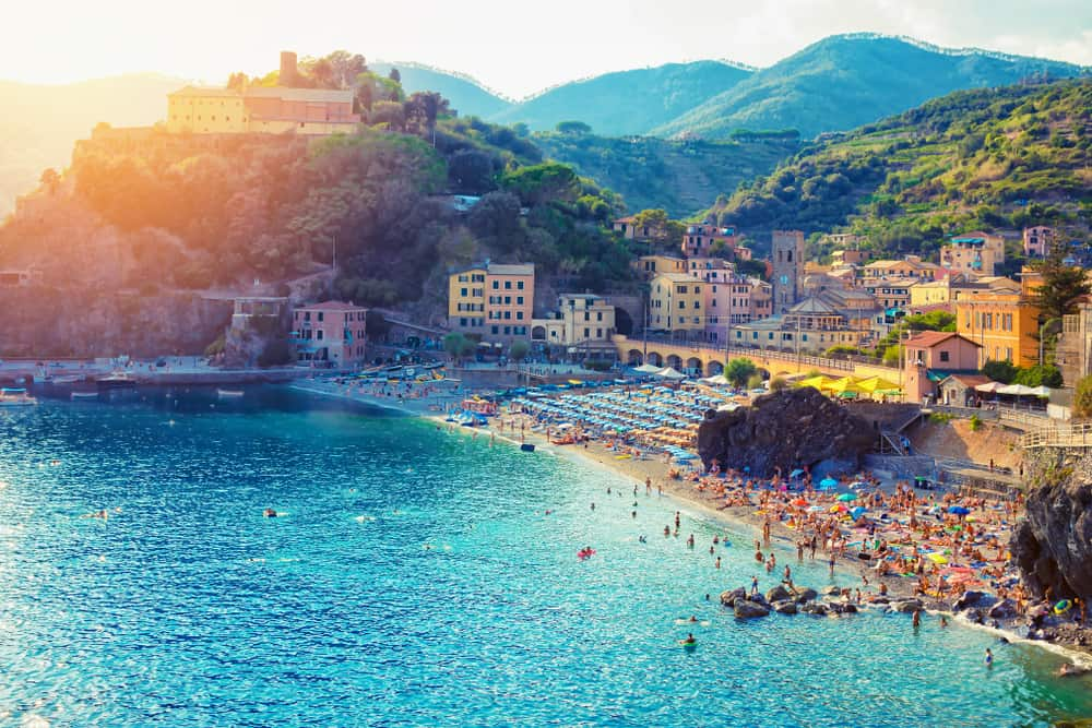 sunset view of beaches in Monterosso cinque terre
