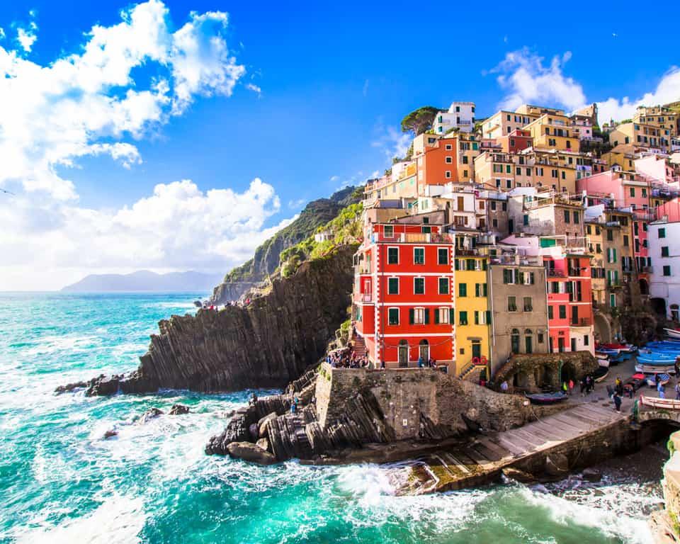 sunny views in Riomaggiore Italy in Cinque Terre