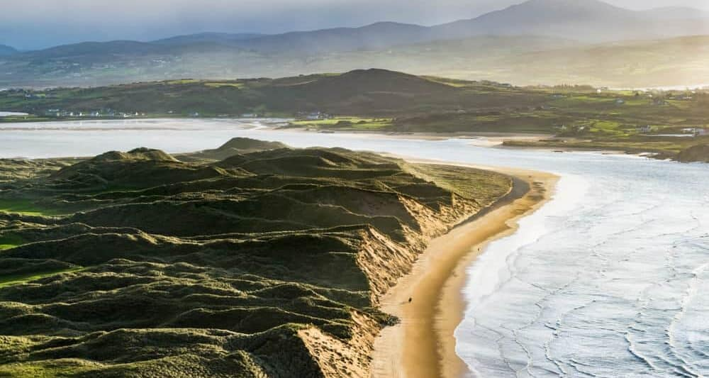 Five Finger strand beach in Ireland at sunset
