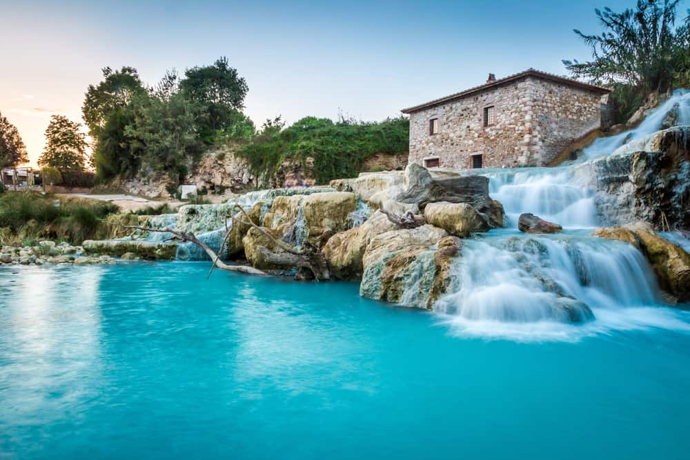 pretty hot spring in Italy with waterfalls