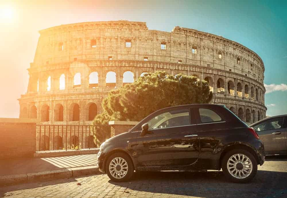 car rental in front of Rome