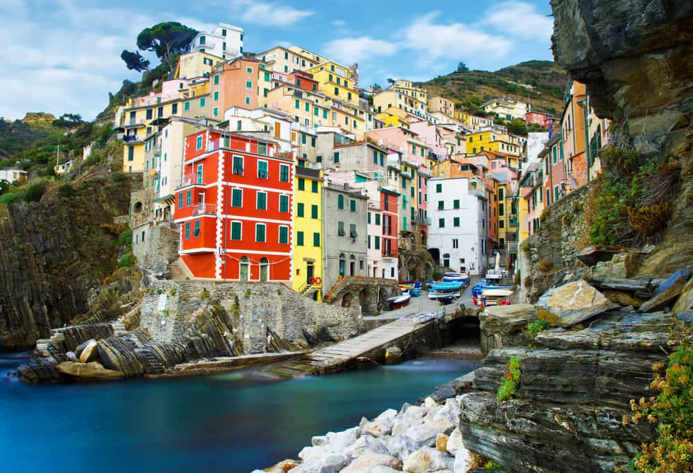 Houses along the coast in Italy