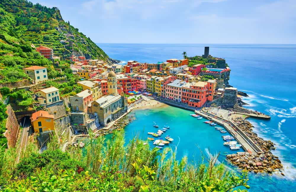 Pretty Cinque Terre Village with colorful houses