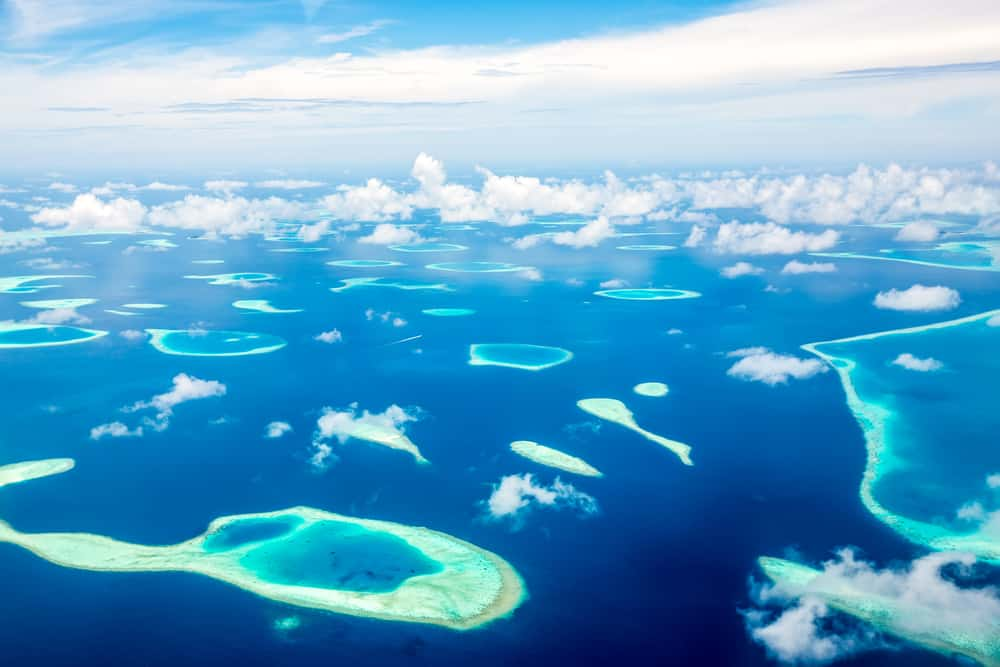 Photo of Aerial View of Several Maldives Islands
