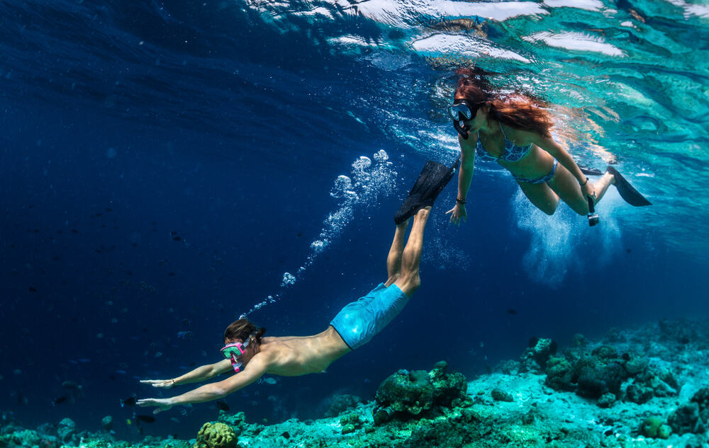 Photo of Couple Swimming in the Maldives