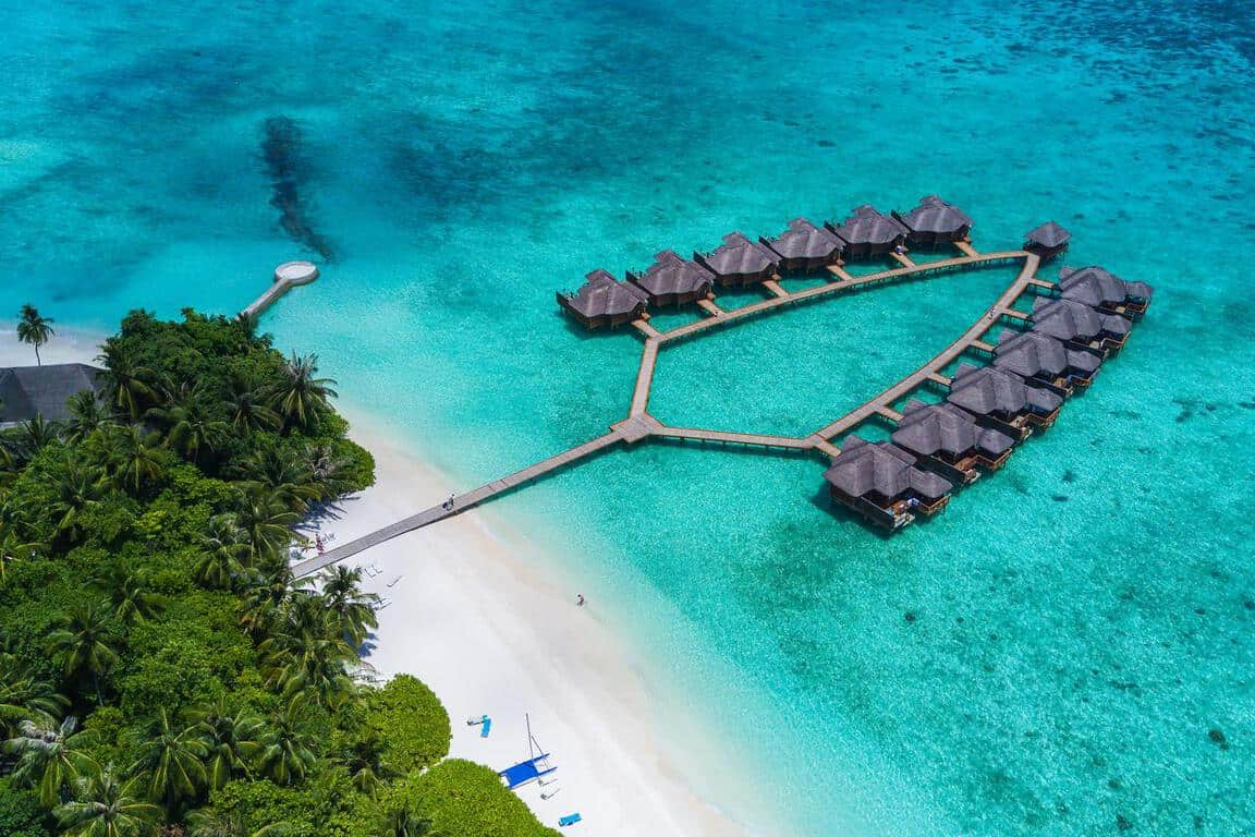 Stunning overwater bungalow in the Maldives