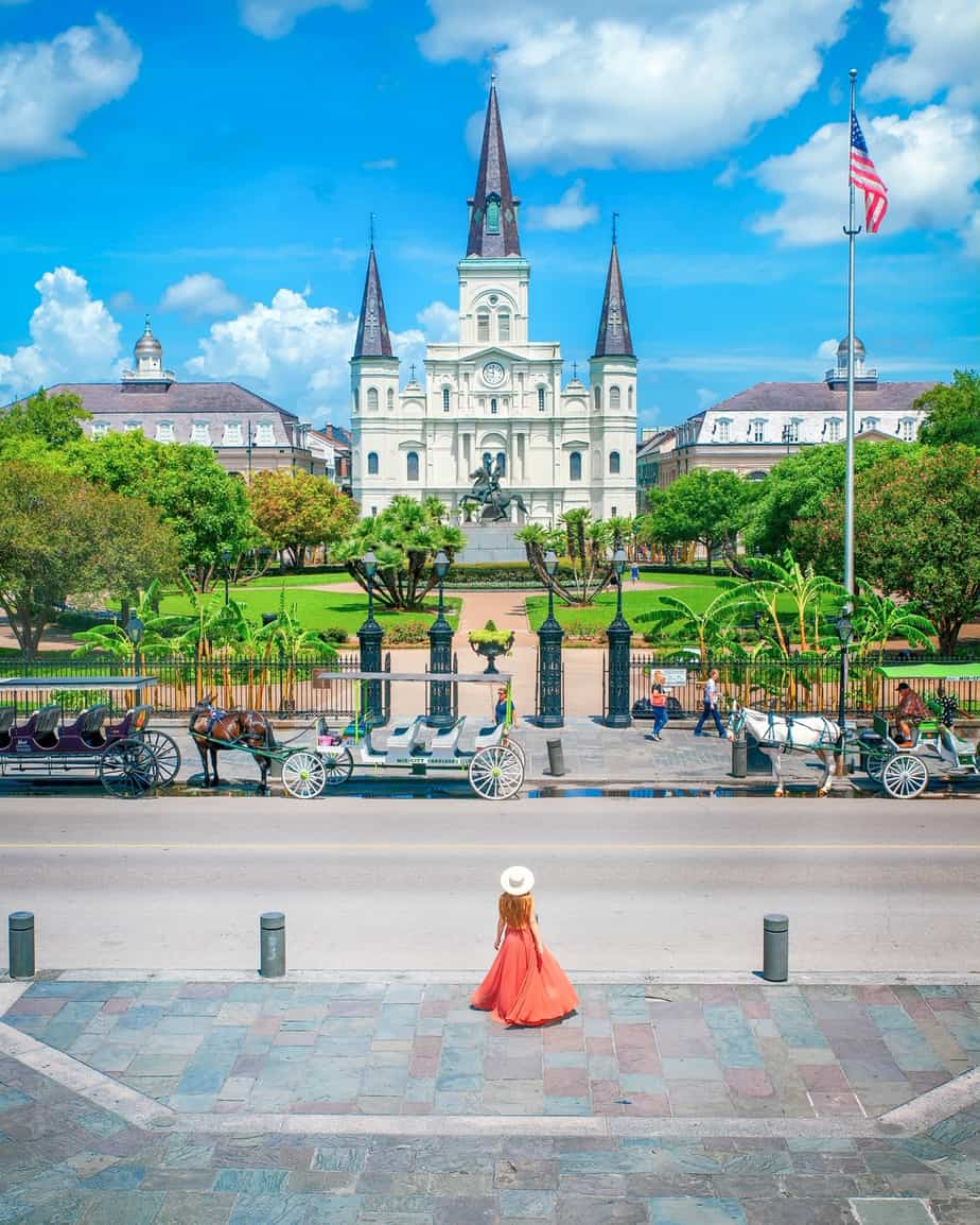 Jackson Square in New Orleans with American Flag